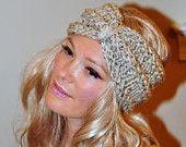 Turban Headband Crochet Head wrap Knit ear warmer Earwarmer CHOOSE COLOR  Oatmeal Natural Warm Knit Gift under 25