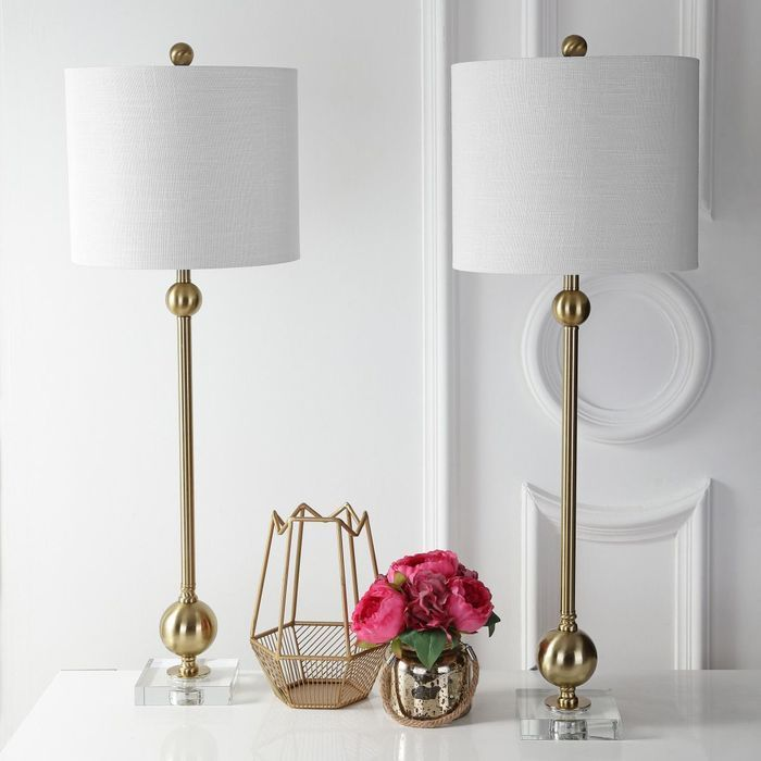 Alani 34 Metal Led Table Lamp Brass With Crystal Base Set Of 2 Eyely Modern Brass Table Lamps Brass Table Lamps Led Table Lamp
