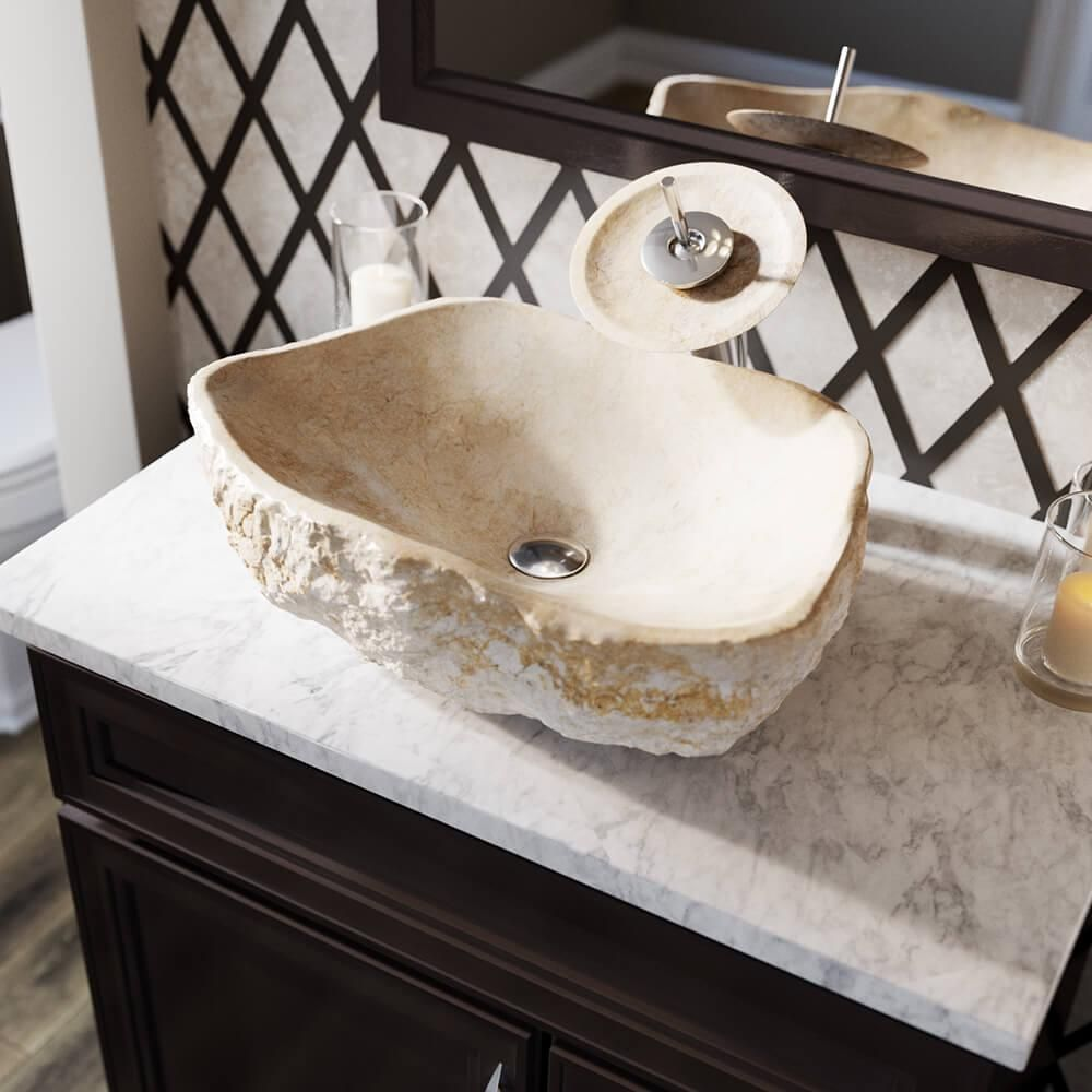 Mr Direct Stone Vessel Sink In Galaga Beige Marble 870 Beige