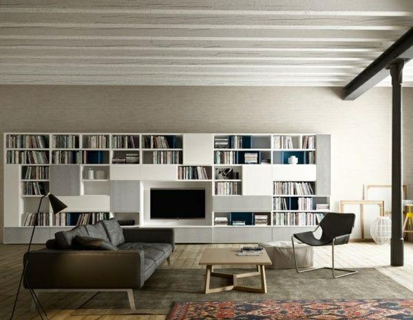 modernes Wohnzimmer Landhaus Zimmerdecke Verkleidung Lederstuhl - wohnzimmer design landhaus