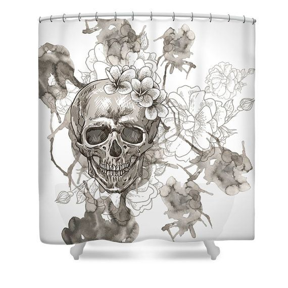 Beige And White Sugar Skull Shower Curtain By FolkandFunky On Etsy