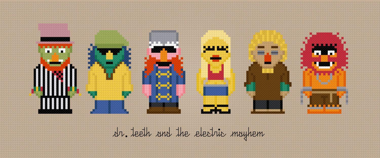 Dr. Teeth & The Electric Mayhem - The Muppet Show - Cross Stitch PDF Pattern Download. $5.00, via Etsy.