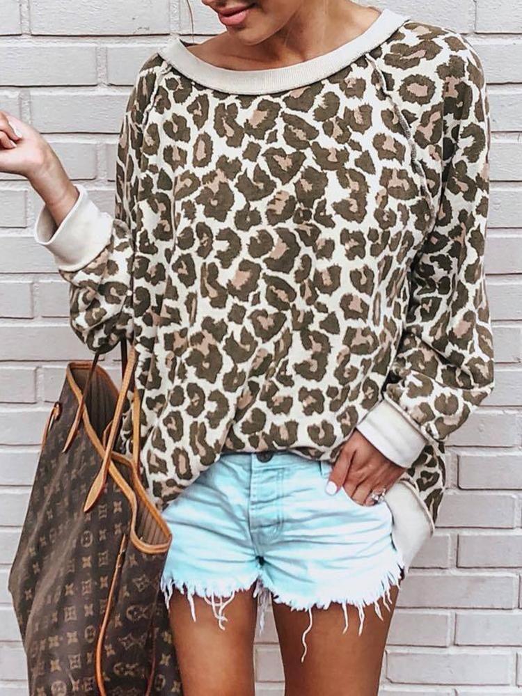 08ecd3367370 boutiquefeel / Leopard Contrast Binding Casual Sweatshirt in 2019 ...