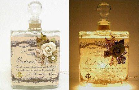 #11 White Rose Fleur de Lis Perfume Bottle Nightlight ( Night Light ) - Perfume Bottle Nightlights - Roses And Teacups