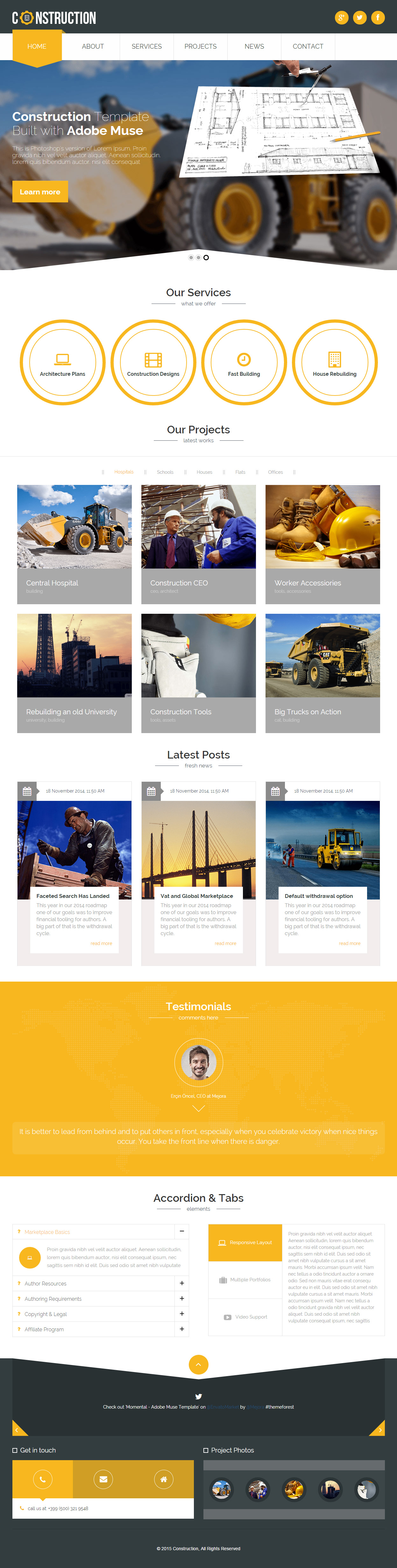 construction company website templates free