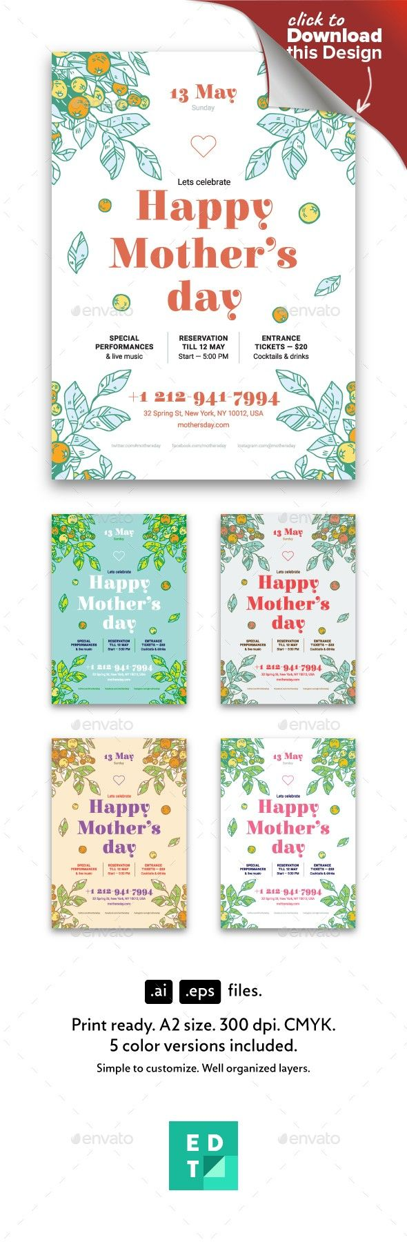 Invitation Format For An Event Mother's Day Poster Template  Party Poster And Template