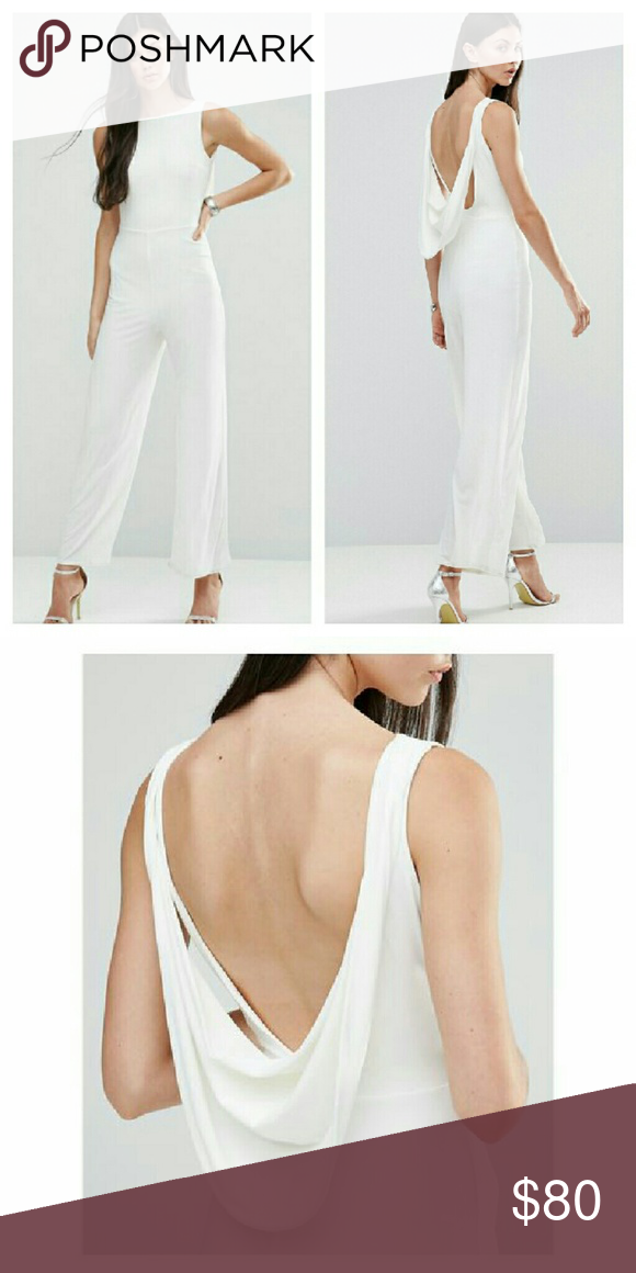 Asos Drape Back White Jumpsuit NWTs. Poly/elastane blend. UK size 14 / US size 10. ASOS Pants Jumpsuits & Rompers