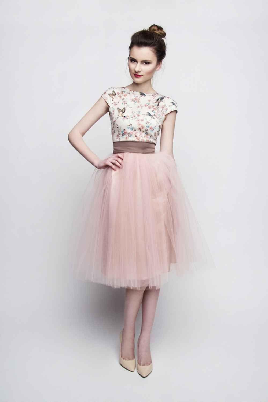 Photo of Standesamt Kleid rosa braun kurz mit Tüllrock individuelle A…