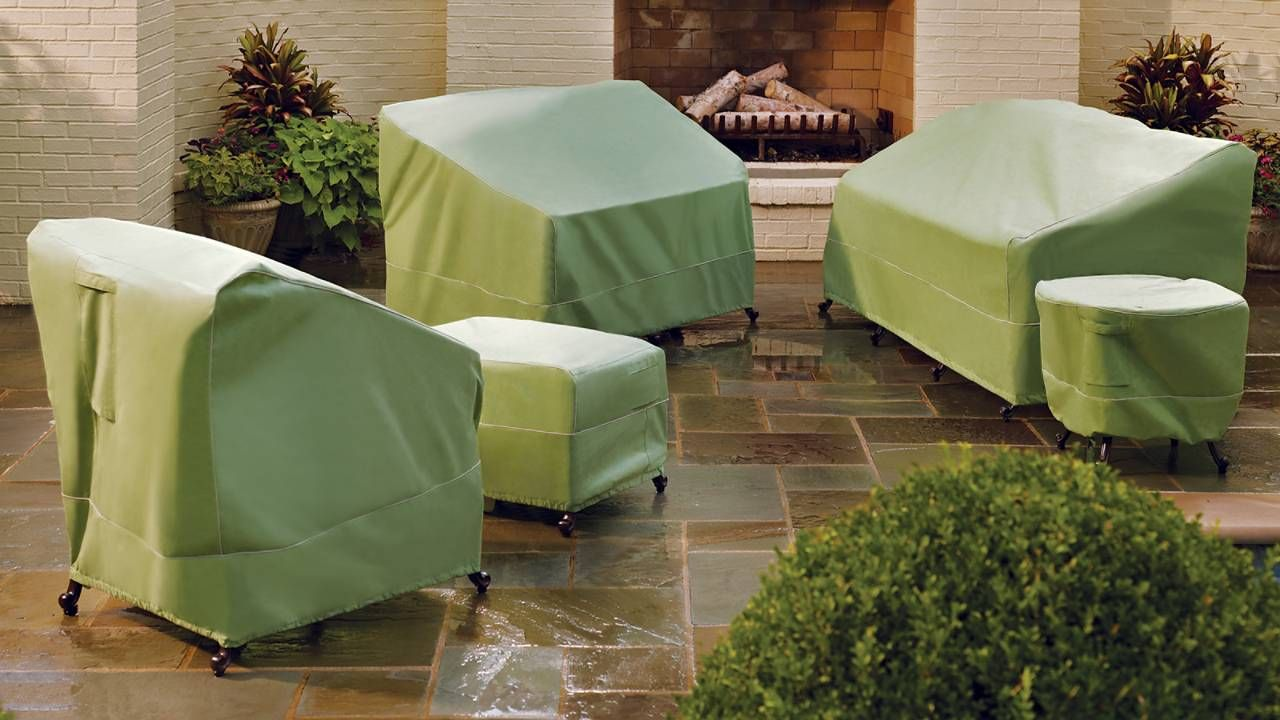 Green Patio Chair Covers Ergonomic Office Jakarta Rainshield Sofa Cover Frontgate Furniture