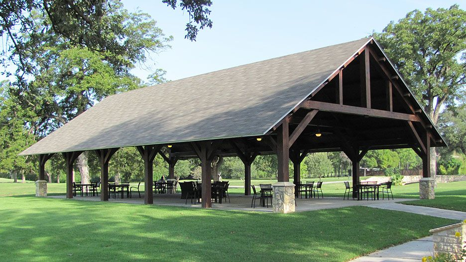 timber frame Outdoor Seating Pavilion Golf Course project … | Timber ...