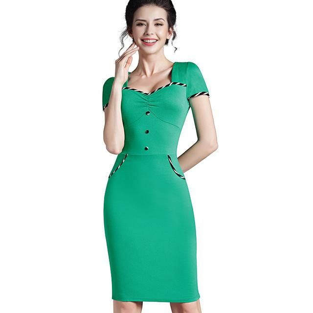 68b5c302a55f Nice-forever Fitted dress Women s summer Brief Pinup Short Sleeve Square  Neck Work Button Bodycon Chic Pencil Dress bty729