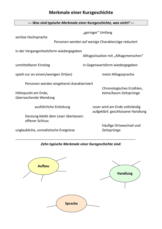 Arbeitsblatt Typische Merkmale von Kurzgeschichten   nach ...