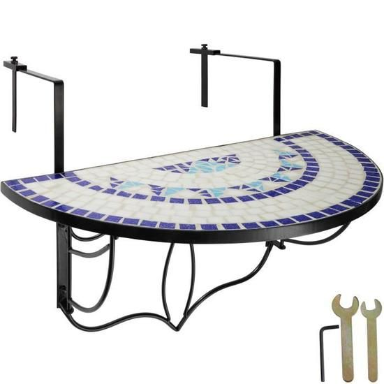 TECTAKE Table de Jardin, Table de Balcon Pliante Suspendue en ...