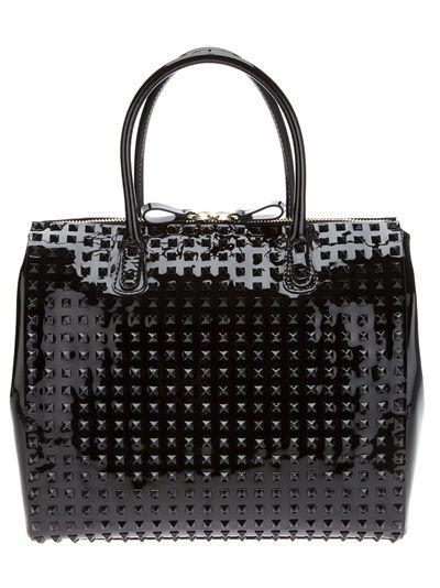 Valentino Garavani Rockstud Double Handle Patent Bag with Studs