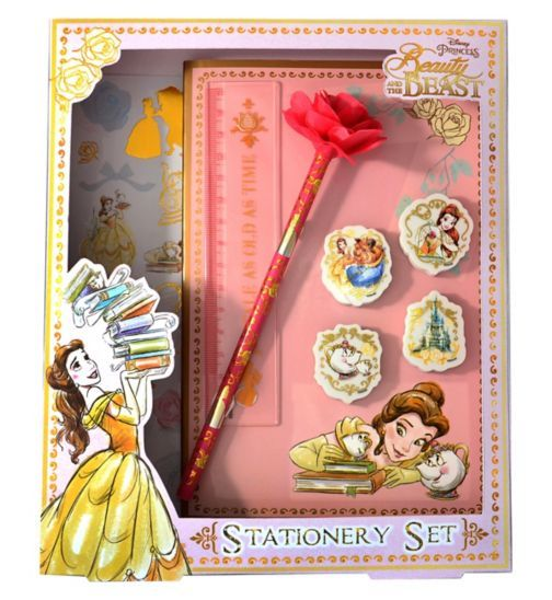 Beauty and the beast stationery set set contains an enchanted rose pencil note book 4 x rubbers ruler and 2 x sheets of golden detailed stickers