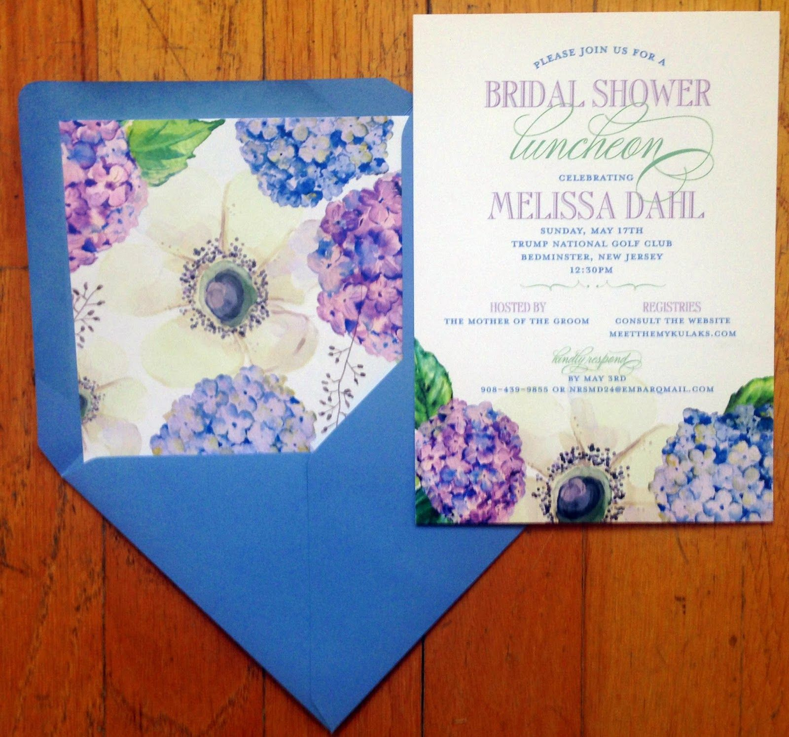 Bridal shower luncheon invitations including a floral