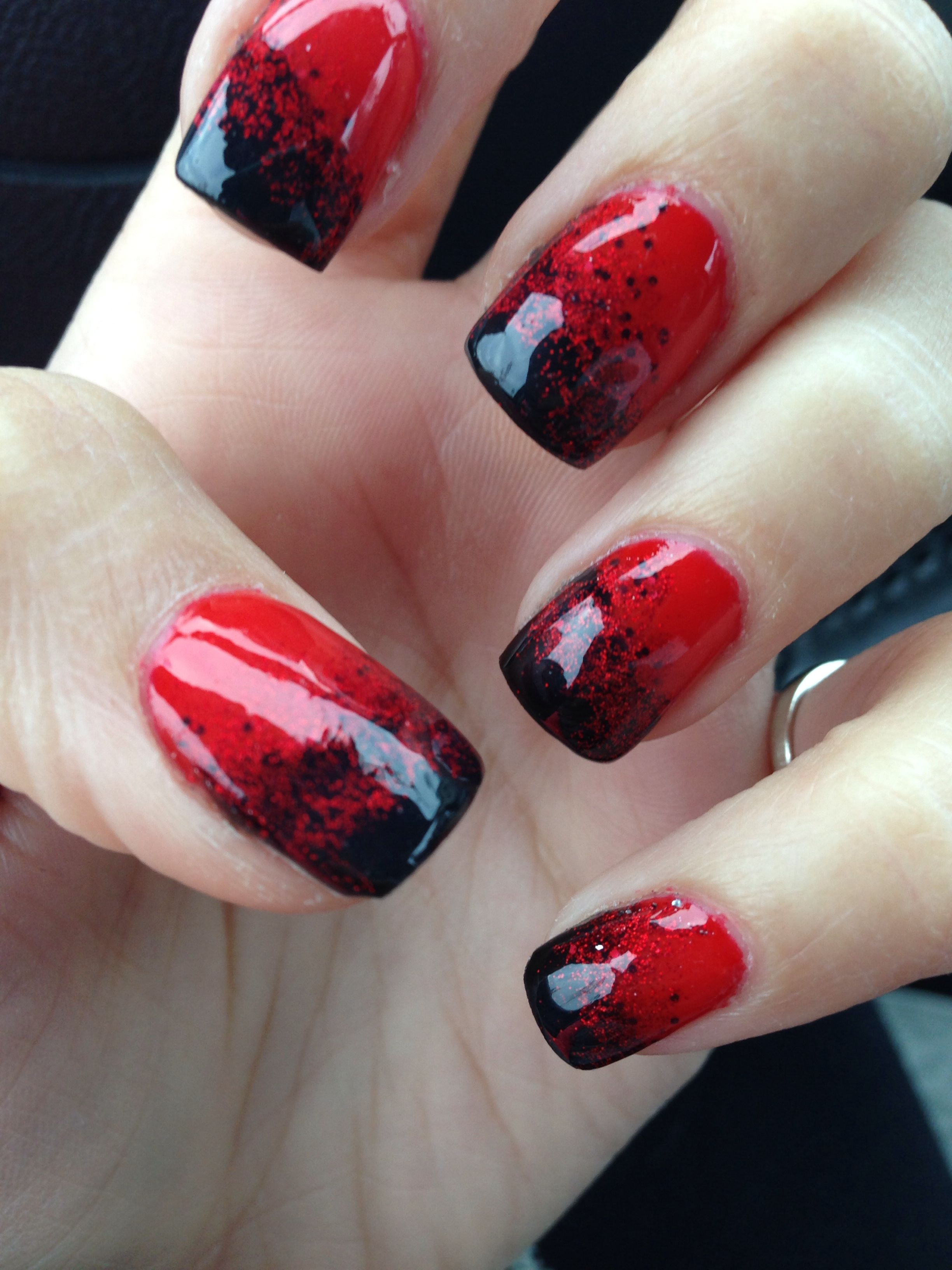 Red and black Halloween gel nails | Red gel nails, Black ...