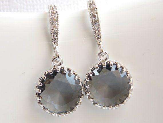 Gray Bridal Earrings  Gray Bridesmaids Jewelry  Charcoal Gray Earrings  Cubic Zirconia Framed Earrings  Grey Bridesmaids Earrings