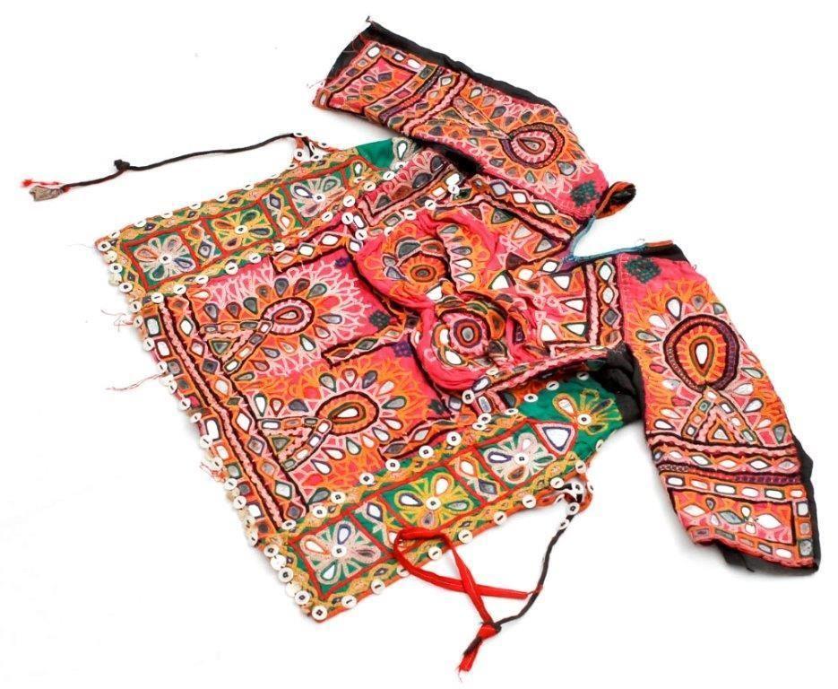 BANJARA MIRROR TRIBAL ETHNIC KUCHI BELLY DANCE OLD INDIAN COIN CHOLI TOP ATS  -  $35.04