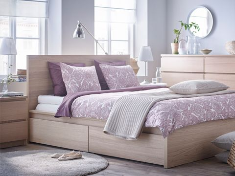 Ikea Malm Bedroom Series Featured In White Stained Oak Malm Bed
