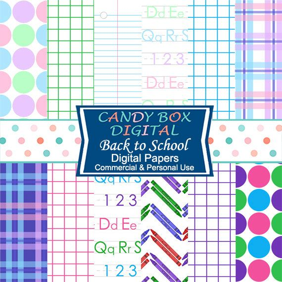 Back To School Digital Paper, Teacher and Student Paper, with