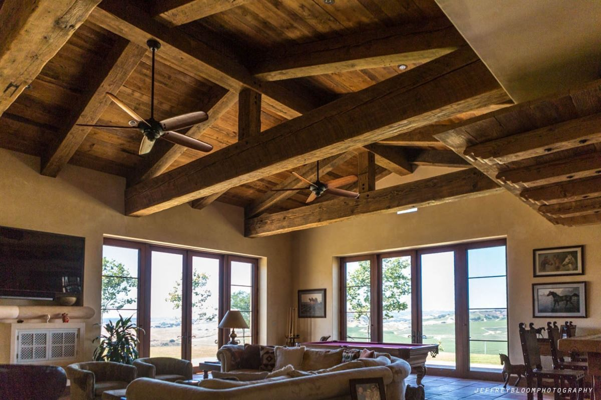 This trussed living room ceiling was built with 12x16 for Living room 12x16