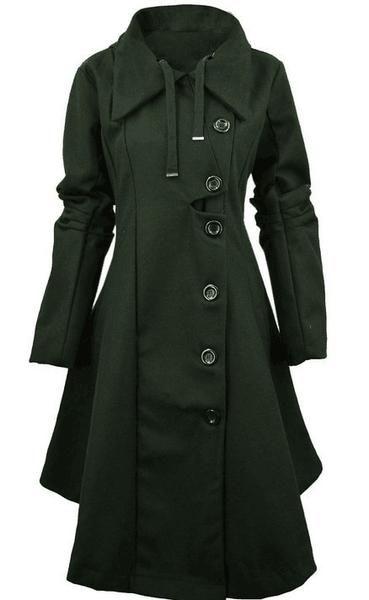 Ladies Black Cashmere Wool Blend Lapel Belt Trench Outdoor Long Coat Parka Size