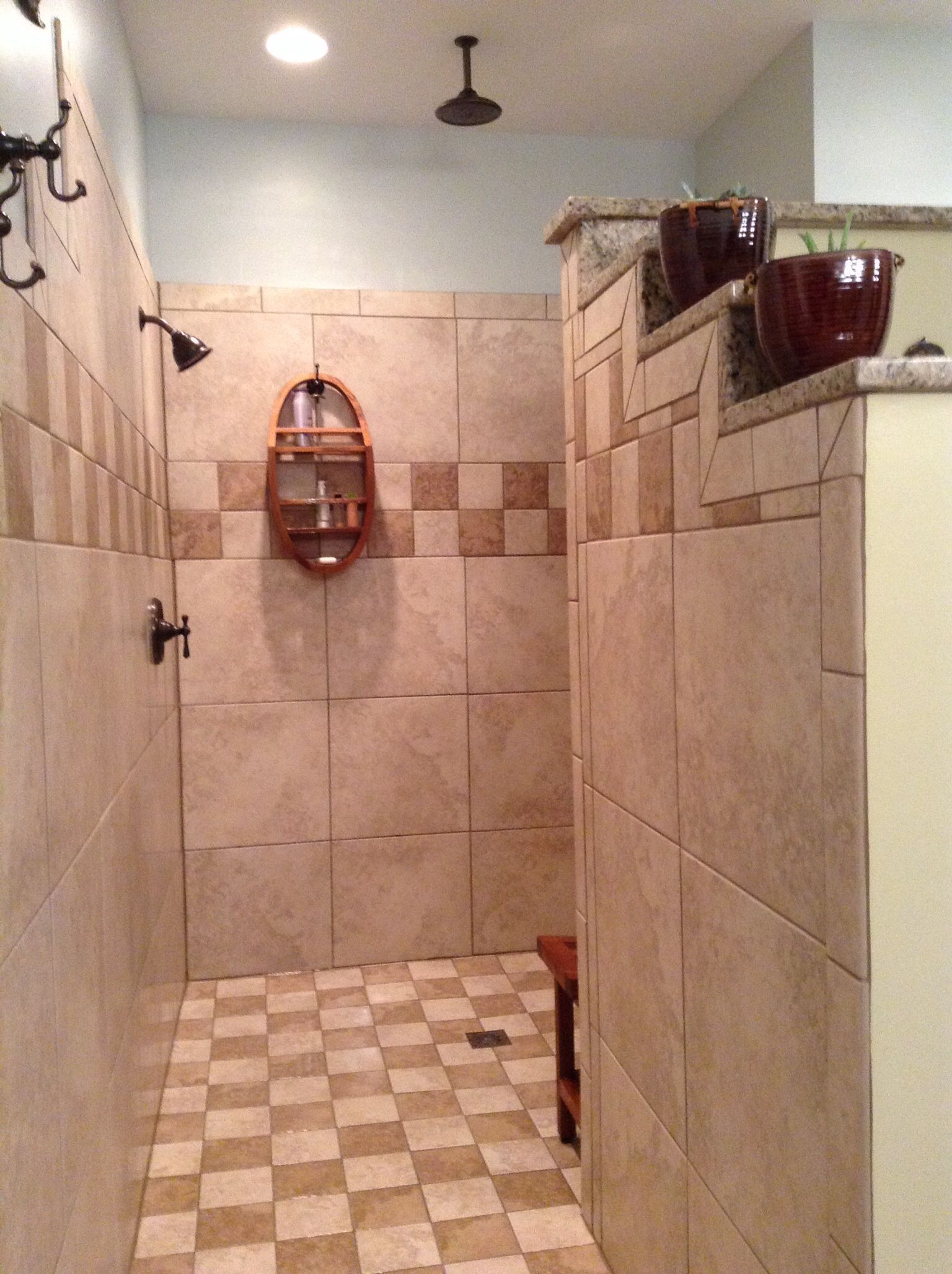 Walk in shower no doorno steps light and open with two