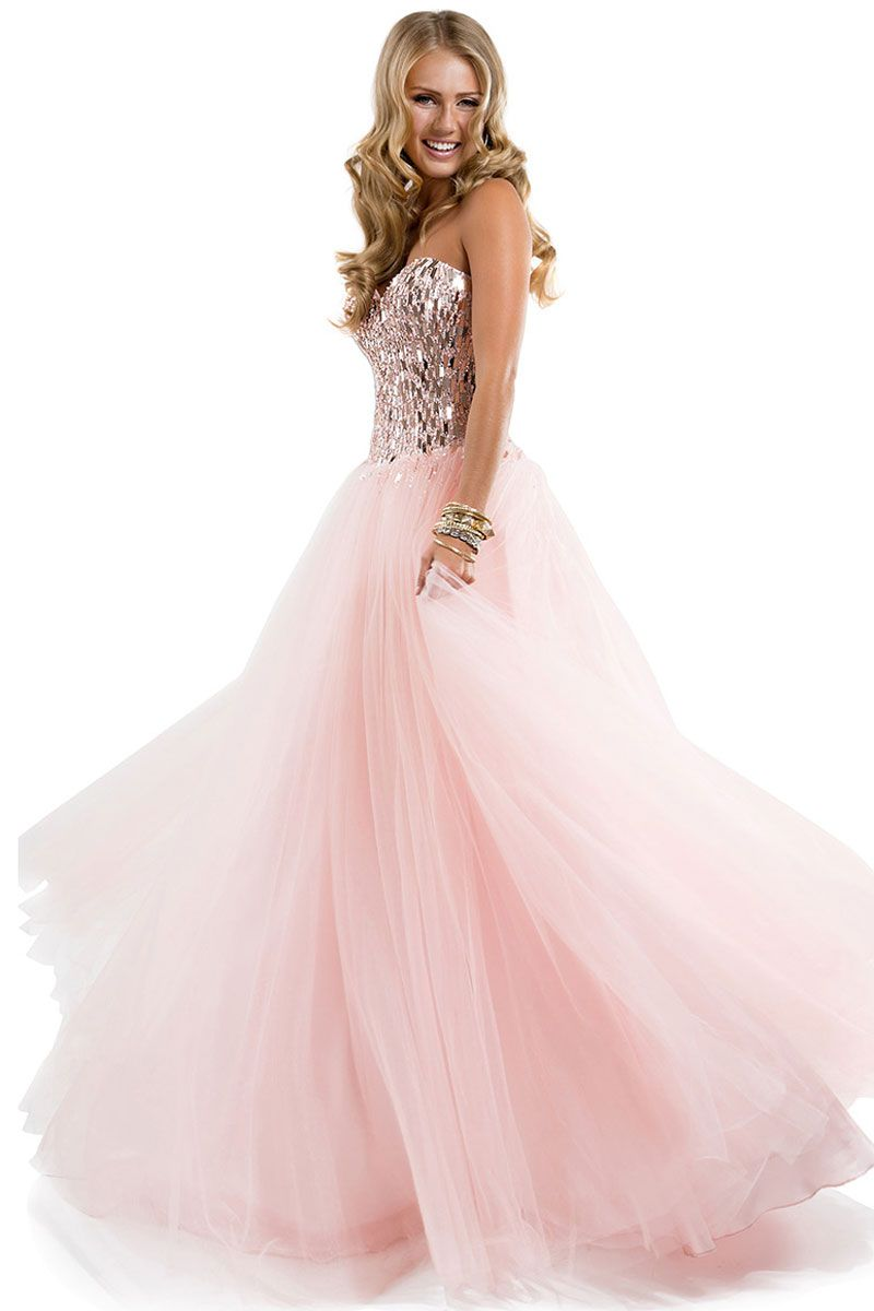 Pink Floor-Length Sweetheart Organza Ball Gown Prom Dress