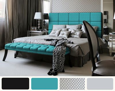 Gray +black+and+turquoise+bedroom+i footboard pc natural ...