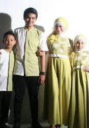 Gamis Gaun Pesta Muslim Hijau Lemon Sarimbit Busana Hijab Muslim