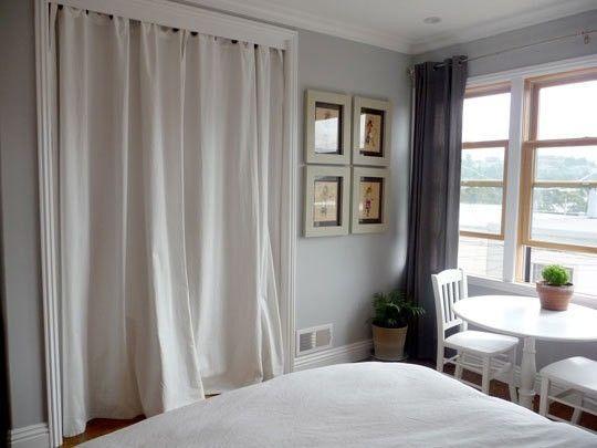 Drapes Over Closet By Lou Curtains For Closet Doors Closet Door
