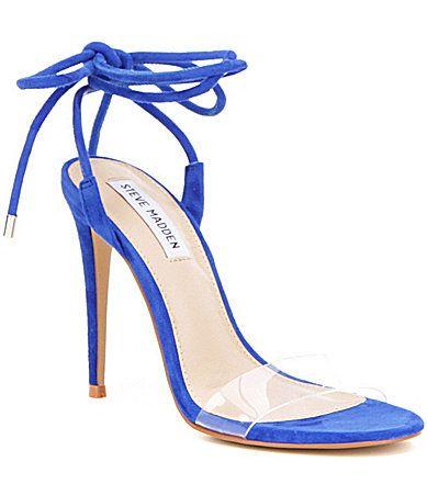 a52bea820bb Steve Madden Lyla Suede Clear Strap Ankle Tie Stiletto Dress Sandals   Dillards