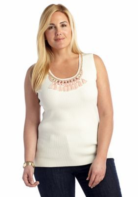 Ruby Rd  Plus Size Embellished Sleeveless Sweater