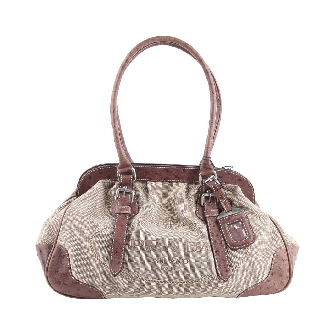 e94ca87fd276 PRADA Beige JACQUARD LOGO Fabric HANDBAG Doctor Bag w/ OSTRICH Leather |  1stdibs.com