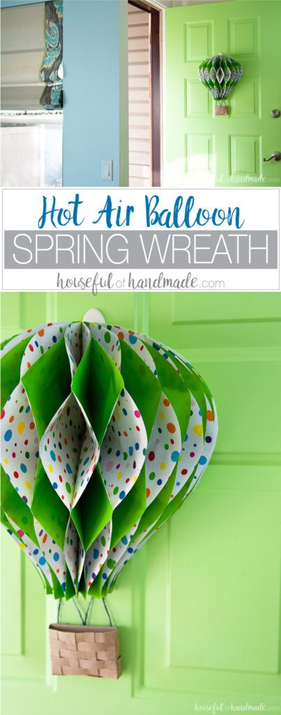 Hot Air Balloon Spring Wreath | Houseful of Homemade - Featured at the Home Matters Linky Party 124