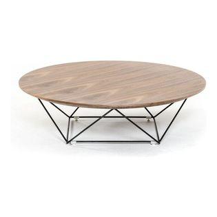 $395 Houzz VIG Furniture   Modrest Spoke Modern Walnut Coffee Table   The  Geometric Stainless Steel