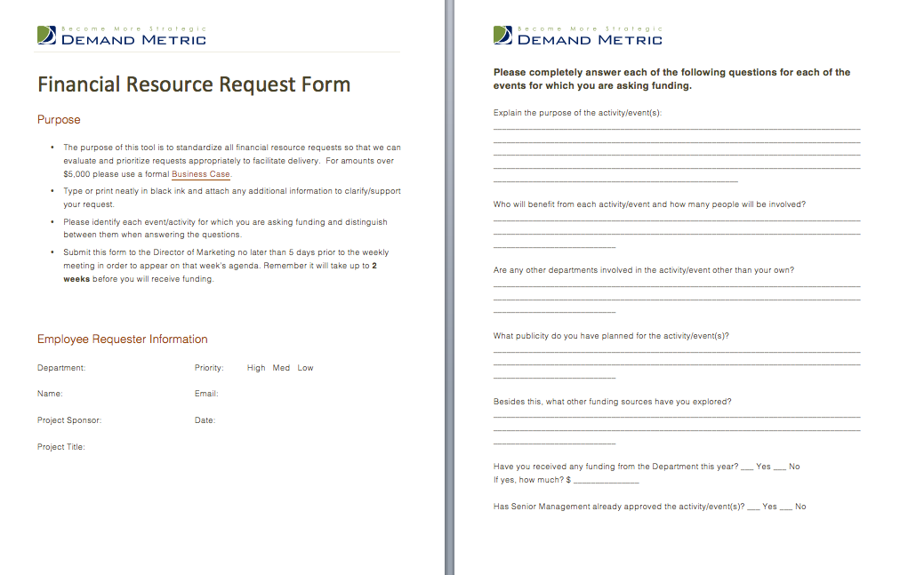 Financial Resource Request Form  A Form That Allows Staff To