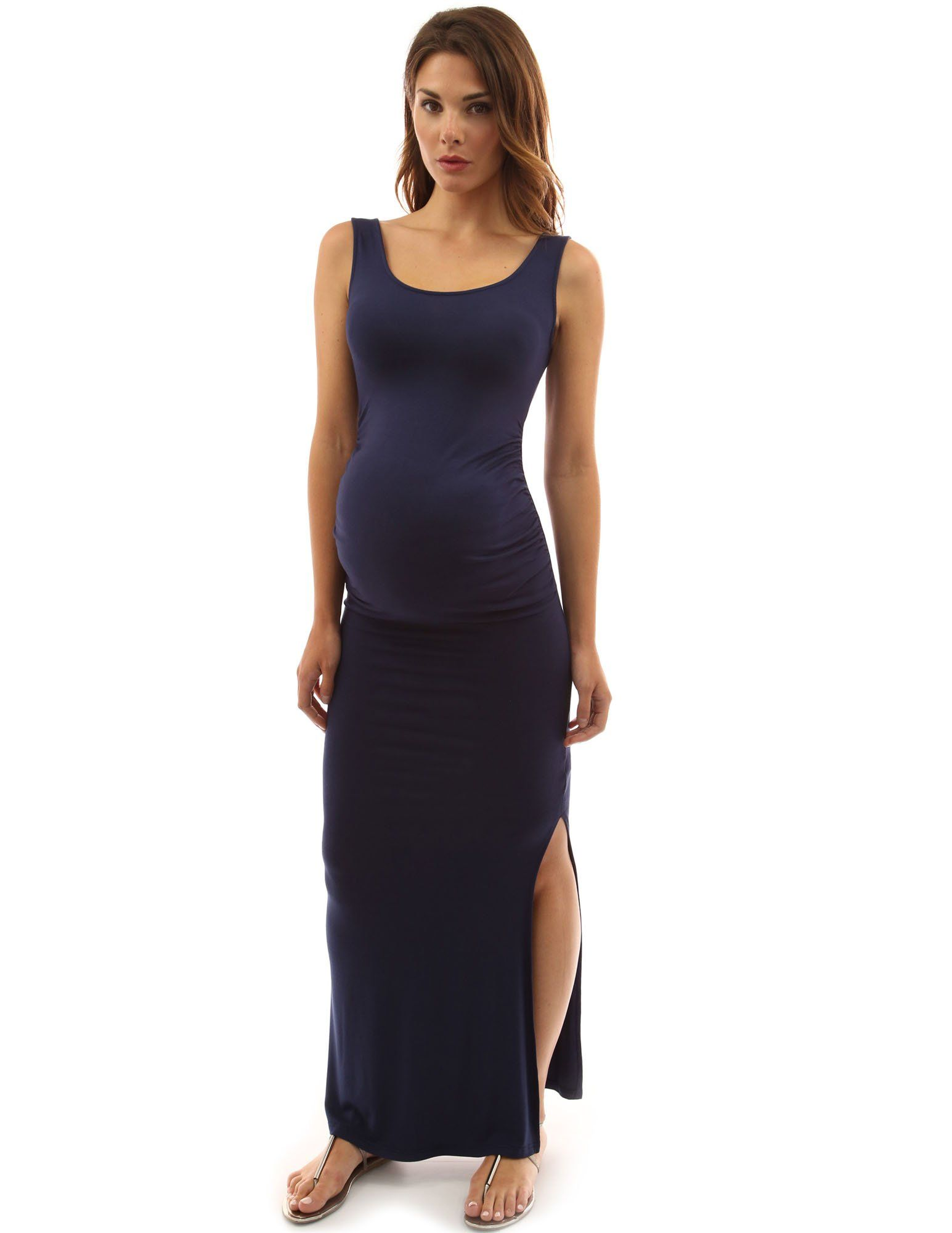 c5c02628ead31 Maternity Outfits - sensible maternity maxi dress   PattyBoutik Mama  TieDye Solid Scoop Neck Sleeveless Maxi Dress Navy Blue XLarge     You can  learn more ...