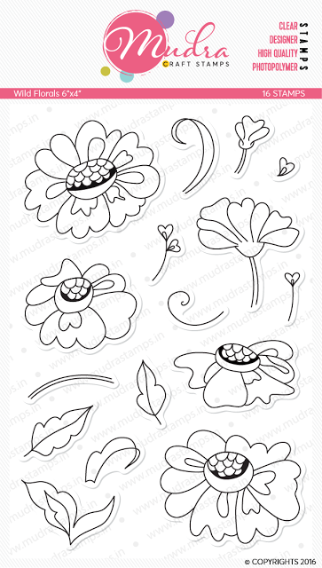 Wild Florals - unique fresh looking floral stamp with cute buds and leaves