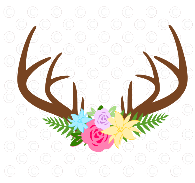 Free Deer Floral Antler SVG Freebie Friday Floral