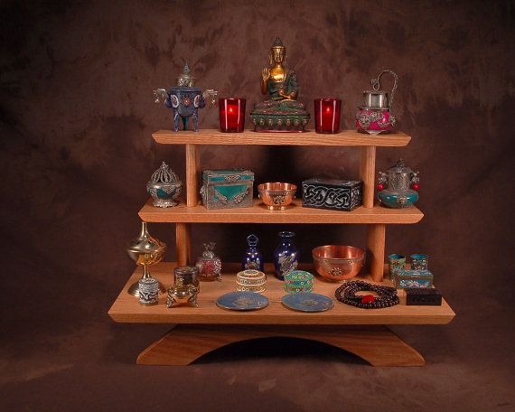 3 Tier Oak Puja Meditation Table Altar By Theyankeewoodsmith, $129.95