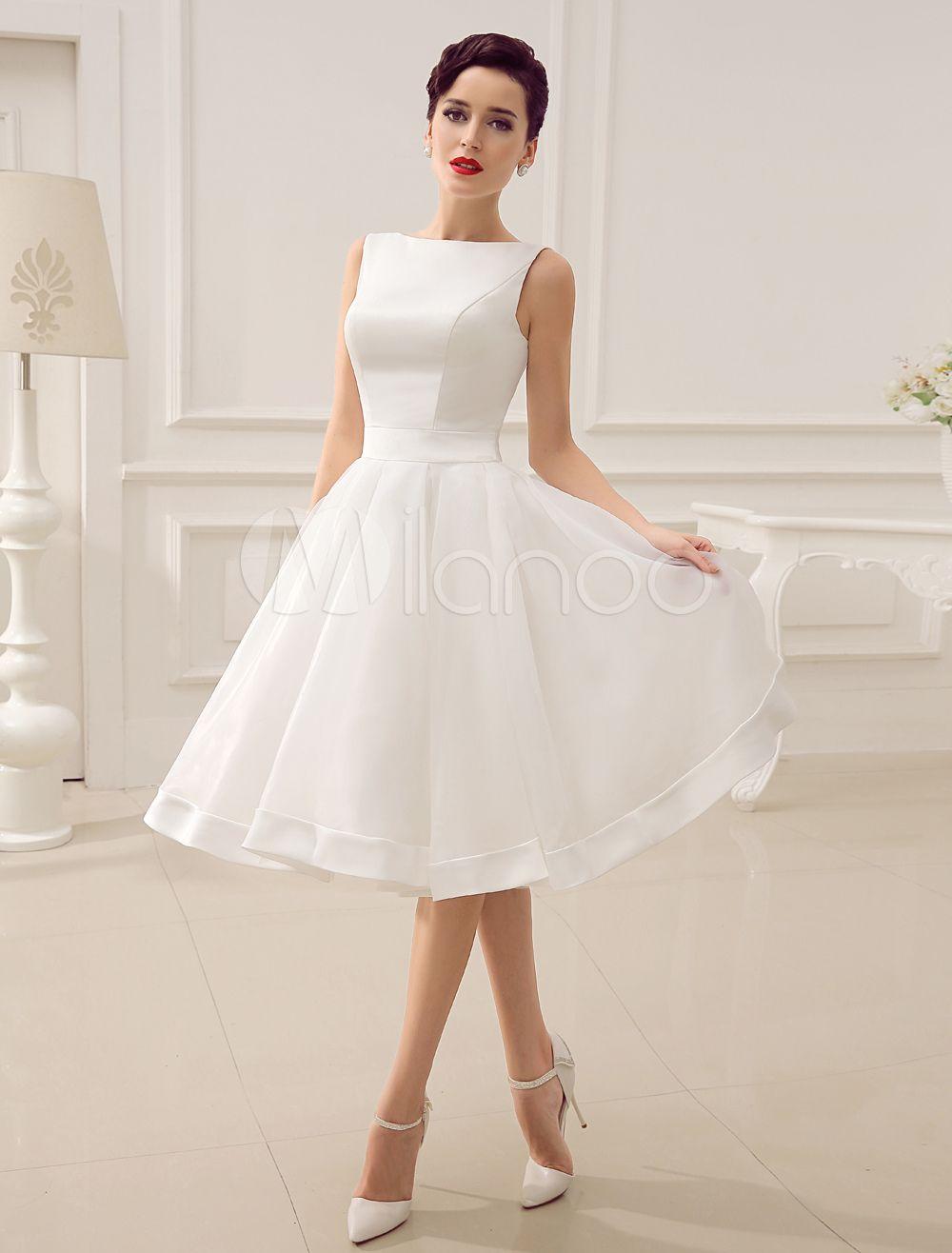 913269fdf Vestido de noiva marfim curto com decote nas costas em Organza e Cetim  Milanoo