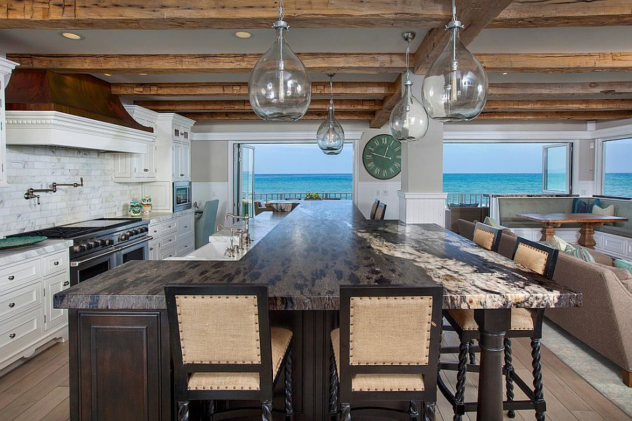 expansive beach style kitchen with ocean view | kitchens