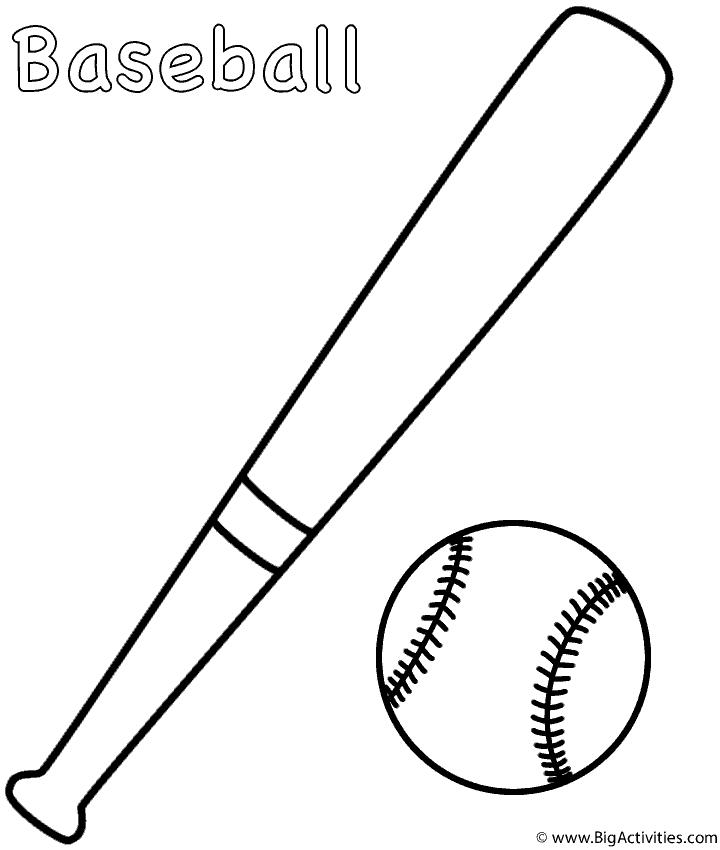 Baseball And Bat Coloring Page Sports Bat Coloring Pages Baseball Coloring Pages Coloring Pages