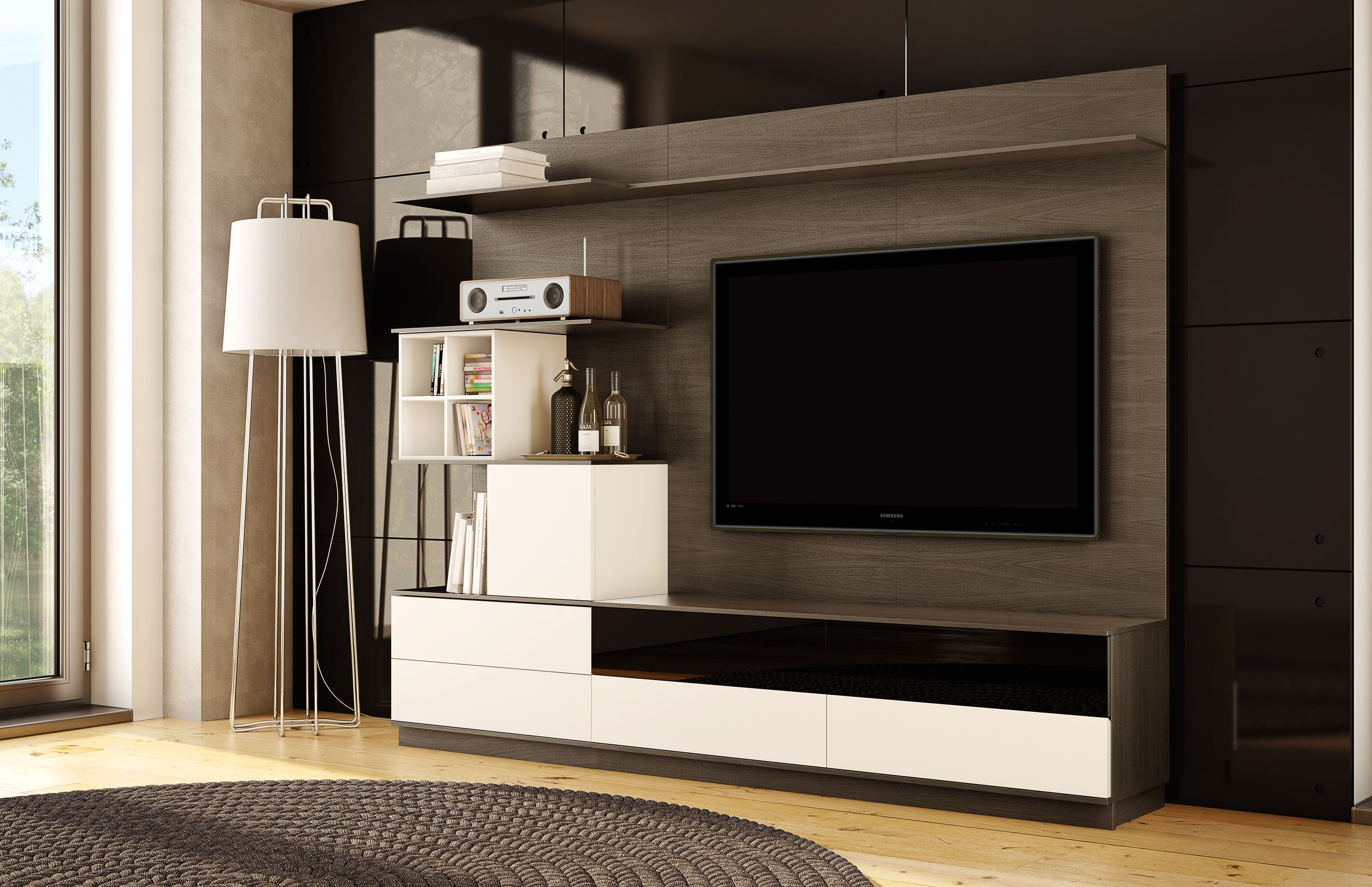 Modern Dark Walnut Wood Panel Entertainment Wall Unit With Organization