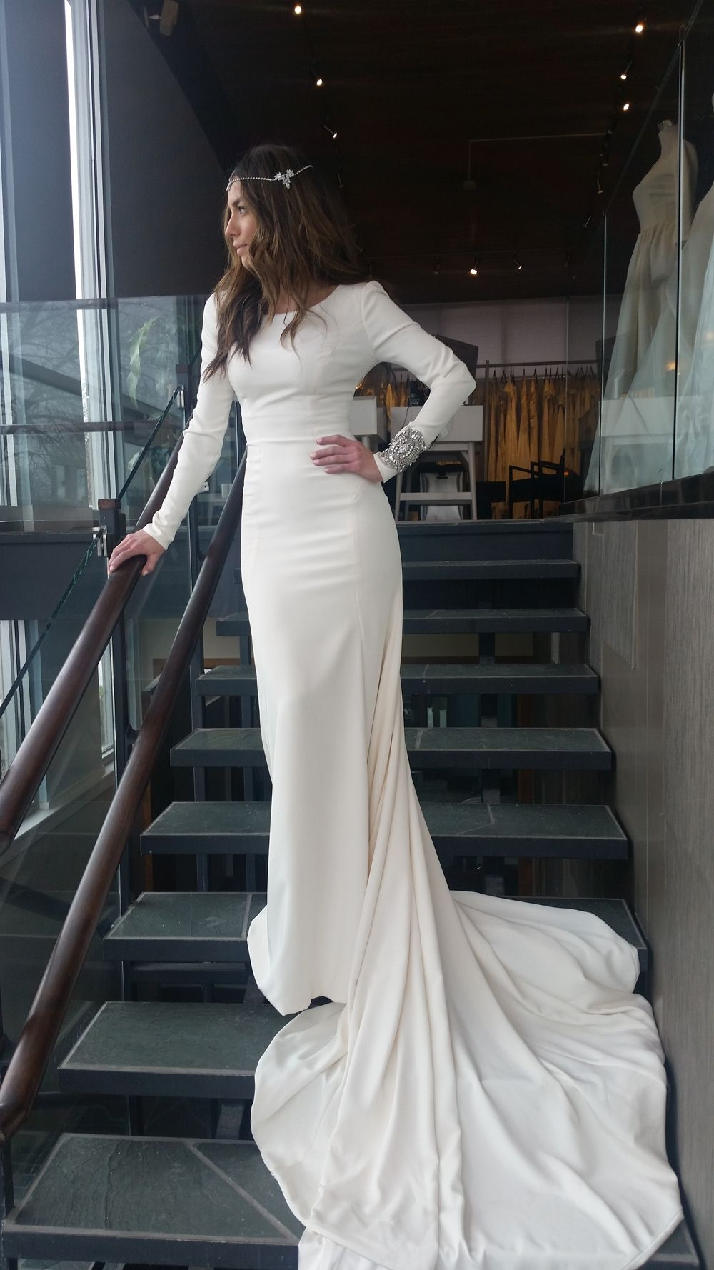 modest wedding dress with long sleeves from alta moda