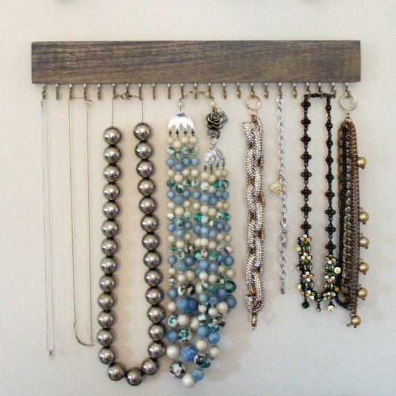 Driftwood gray wood hanging necklace display organizer with gold