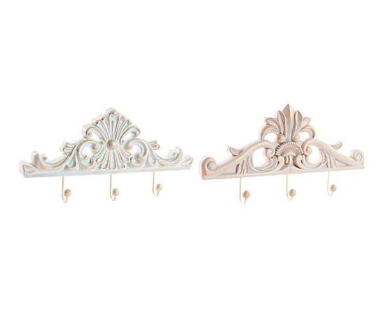 Set de 2 colgadores de madera dm crema y blanco for Colgadores de madera