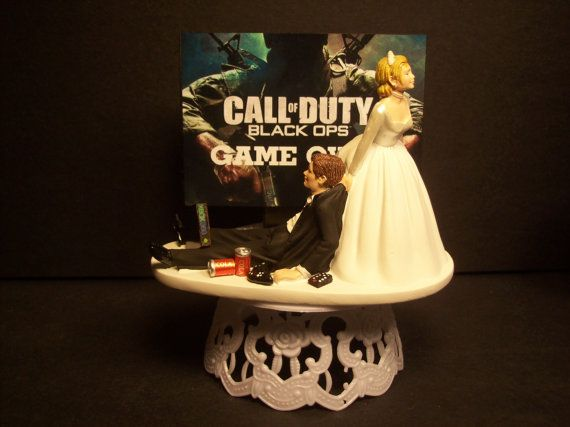 Video Call Of Duty Black Ops Bride And Groom Funny Wedding Cake Topper